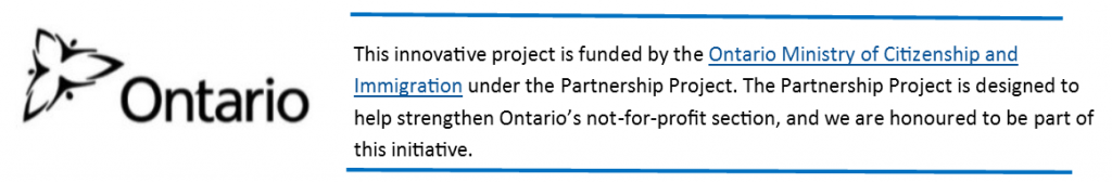 An acknowledgement to the Ontario Ministry of Citizenship and Immigration.